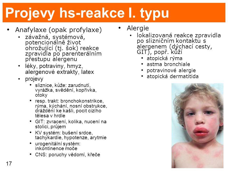 17 Projevy hs-reakce I. typu Anafylaxe (opak profylaxe) závažná, systémová, potencionálně život ohrožující (tj. šok) reakce zpravidla po parenterálním