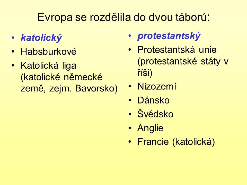 Evropa se rozdělila do dvou táborů : katolický Habsburkové Katolická liga (katolické německé země, zejm. Bavorsko) protestantský Protestantská unie (p