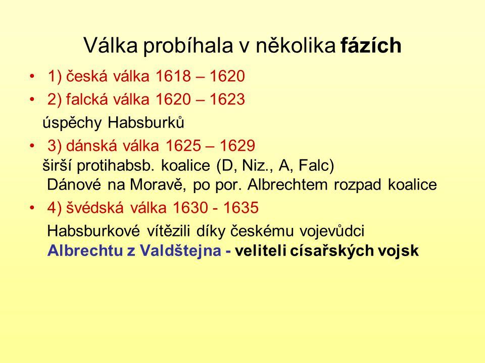 Válka probíhala v několika fázích 1) česká válka 1618 – 1620 2) falcká válka 1620 – 1623 úspěchy Habsburků 3) dánská válka 1625 – 1629 širší protihabsb.