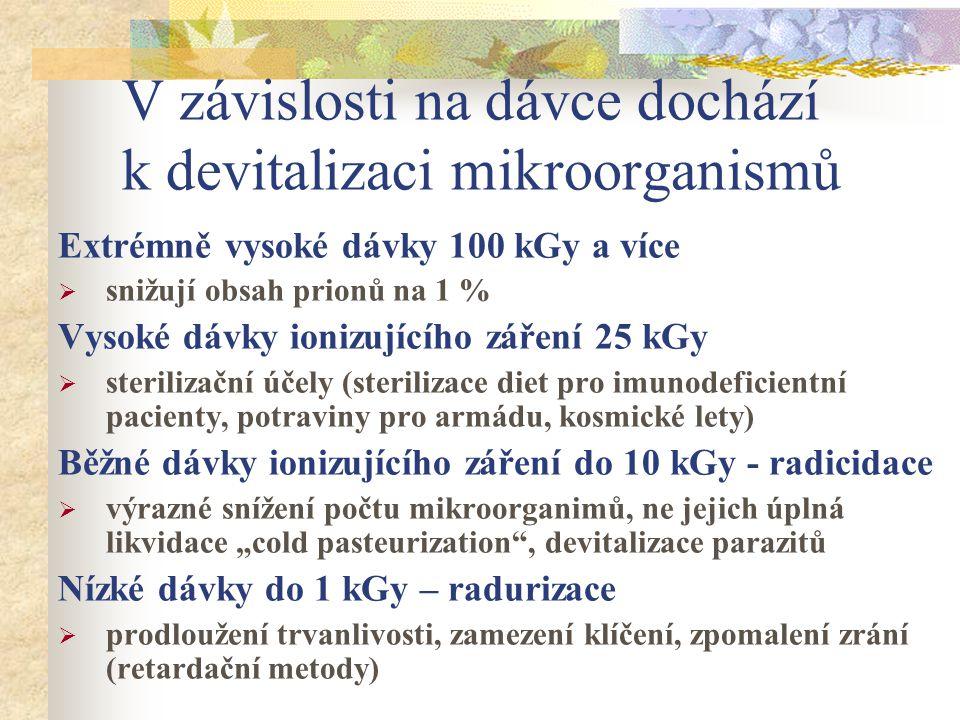 V závislosti na dávce dochází k devitalizaci mikroorganismů Extrémně vysoké dávky 100 kGy a více  snižují obsah prionů na 1 % Vysoké dávky ionizující