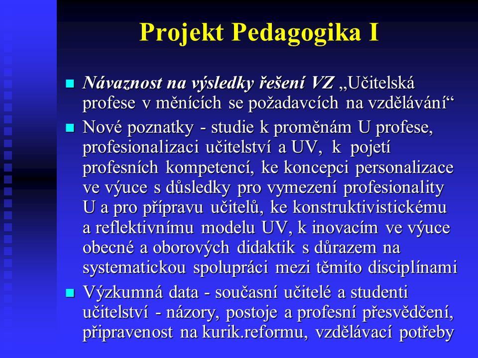 (5) Metodologie pedagogického výzkumu Další rozvoj vybraných metodologických přístupů ověřovaných v rámci VZ, např.