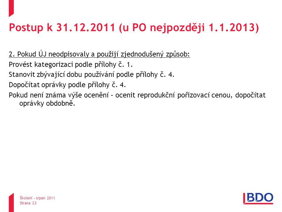 Postup k 31.12.2011 (u PO nejpozději 1.1.2013) 2.