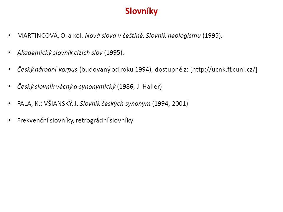 Slovníky MARTINCOVÁ, O.a kol. Nová slova v češtině.