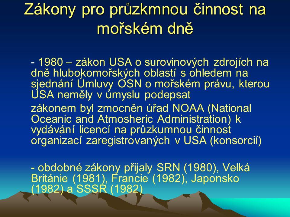 Zákony pro průzkmnou činnost na mořském dně - 1980 – zákon USA o surovinových zdrojích na dně hlubokomořských oblastí s ohledem na sjednání Úmluvy OSN