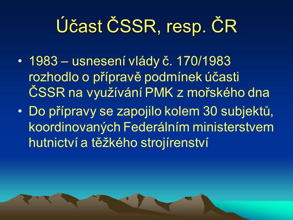 Účast ČSSR, resp. ČR 1983 – usnesení vlády č. 170/1983 rozhodlo o přípravě podmínek účasti ČSSR na využívání PMK z mořského dna Do přípravy se zapojil