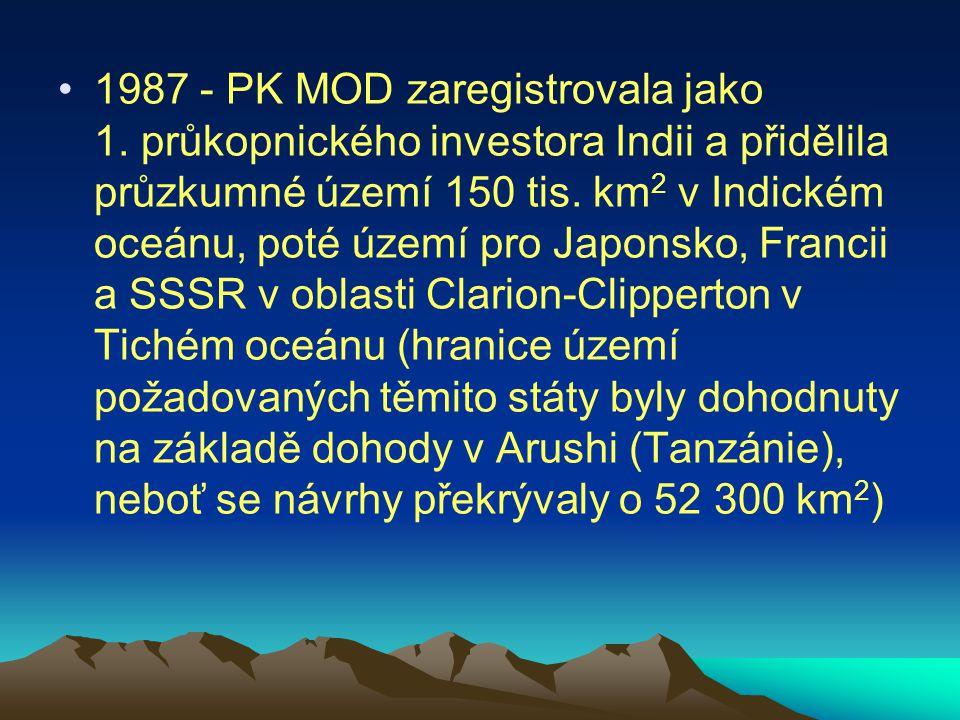 1987 - PK MOD zaregistrovala jako 1. průkopnického investora Indii a přidělila průzkumné území 150 tis. km 2 v Indickém oceánu, poté území pro Japonsk