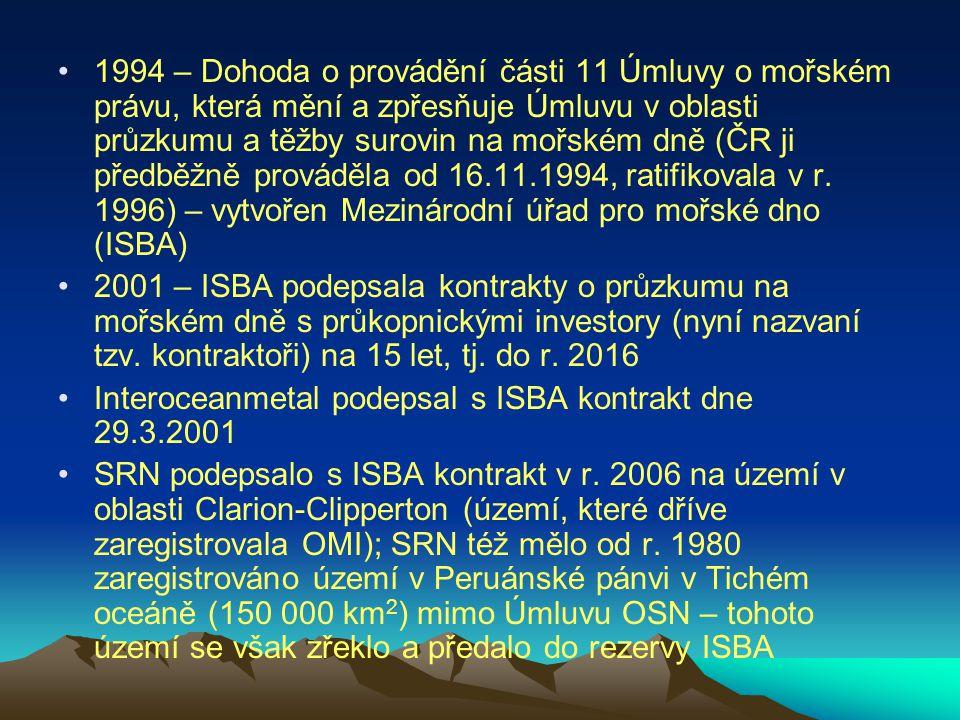 1994 – Dohoda o provádění části 11 Úmluvy o mořském právu, která mění a zpřesňuje Úmluvu v oblasti průzkumu a těžby surovin na mořském dně (ČR ji před