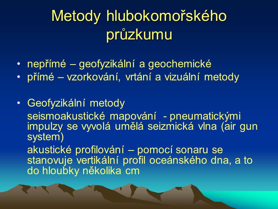 Metody hlubokomořského průzkumu nepřímé – geofyzikální a geochemické přímé – vzorkování, vrtání a vizuální metody Geofyzikální metody seismoakustické