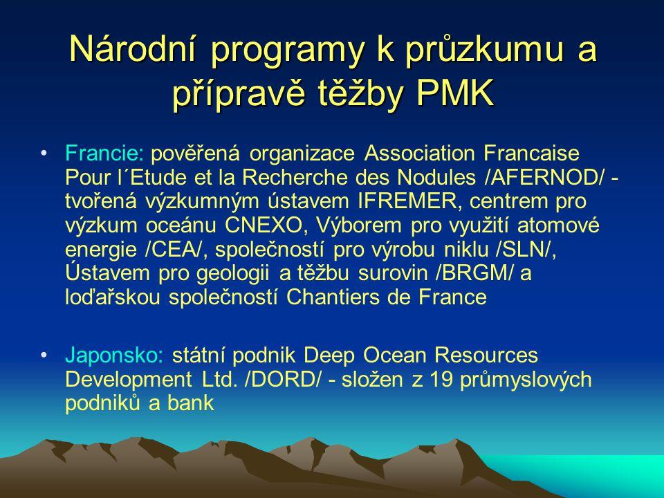 Národní programy k průzkumu a přípravě těžby PMK Francie: pověřená organizace Association Francaise Pour l´Etude et la Recherche des Nodules /AFERNOD/