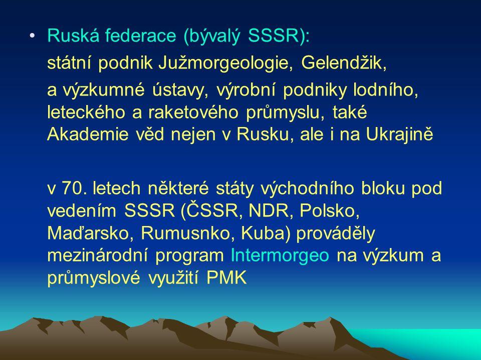 Ruská federace (bývalý SSSR): státní podnik Južmorgeologie, Gelendžik, a výzkumné ústavy, výrobní podniky lodního, leteckého a raketového průmyslu, ta