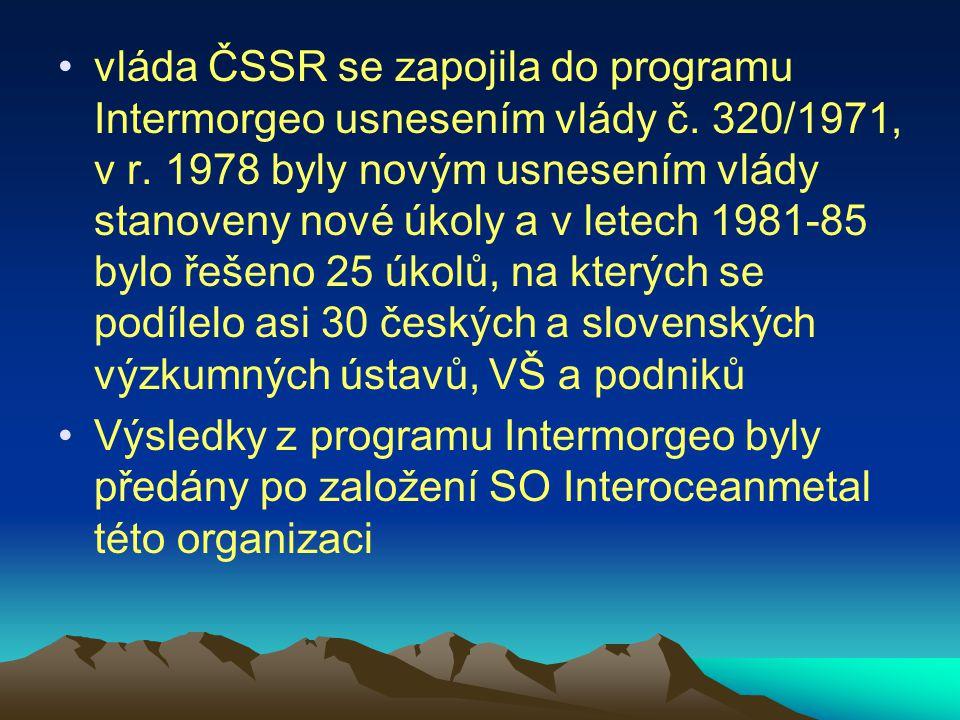 vláda ČSSR se zapojila do programu Intermorgeo usnesením vlády č. 320/1971, v r. 1978 byly novým usnesením vlády stanoveny nové úkoly a v letech 1981-
