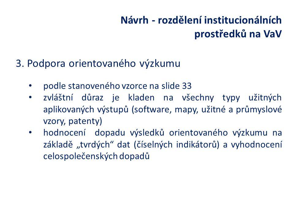 Návrh - rozdělení institucionálních prostředků na VaV 3.