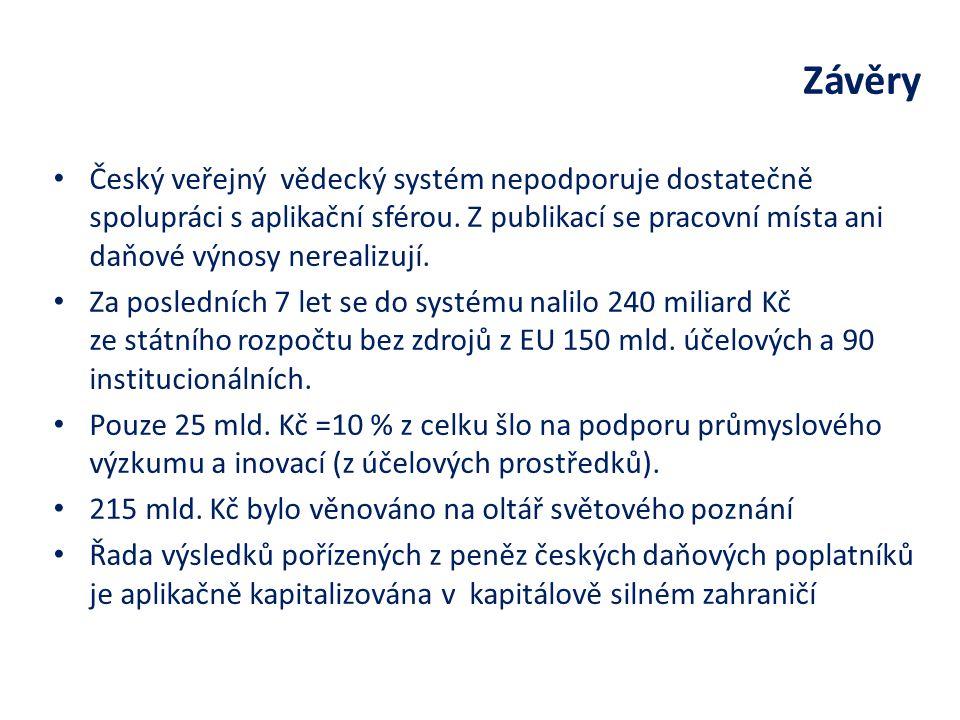 Český veřejný vědecký systém nepodporuje dostatečně spolupráci s aplikační sférou.