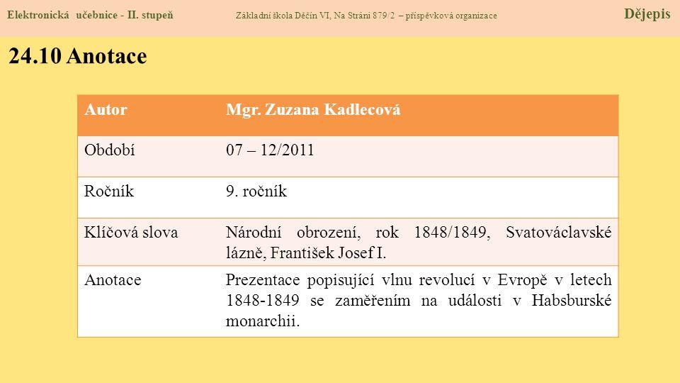 24.9 Použité zdroje, citace Elektronická učebnice - II. stupeň Základní škola Děčín VI, Na Stráni 879/2 – příspěvková organizace Dějepis 1.H. Mandelov