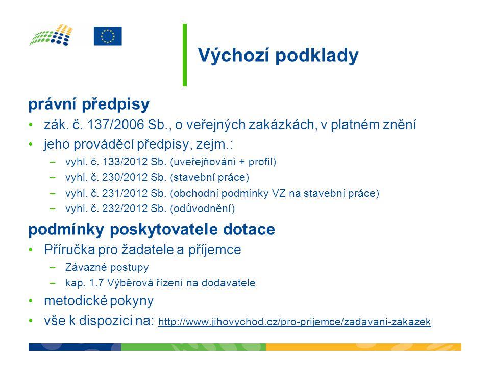 Výchozí podklady právní předpisy zák. č. 137/2006 Sb., o veřejných zakázkách, v platném znění jeho prováděcí předpisy, zejm.: –vyhl. č. 133/2012 Sb. (