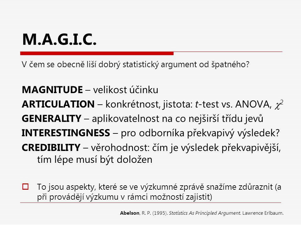 M.A.G.I.C. V čem se obecně liší dobrý statistický argument od špatného? MAGNITUDE – velikost účinku ARTICULATION – konkrétnost, jistota: t-test vs. AN
