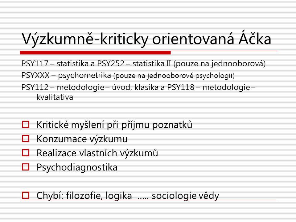 Výzkumně-kriticky orientovaná Áčka PSY117 – statistika a PSY252 – statistika II (pouze na jednooborová) PSYXXX – psychometrika (pouze na jednooborové