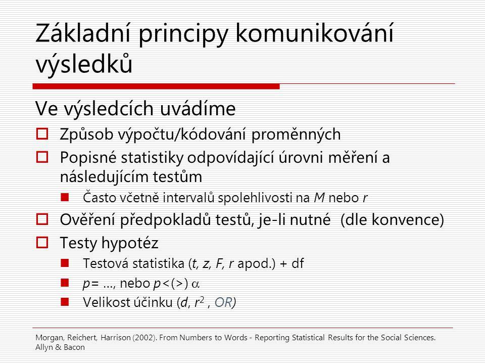 Základní principy komunikování výsledků Ve výsledcích uvádíme  Způsob výpočtu/kódování proměnných  Popisné statistiky odpovídající úrovni měření a n