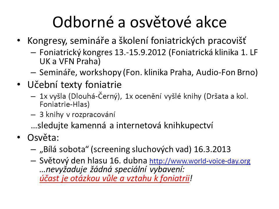 Odborné a osvětové akce Kongresy, semináře a školení foniatrických pracovišť – Foniatrický kongres 13.-15.9.2012 (Foniatrická klinika 1. LF UK a VFN P