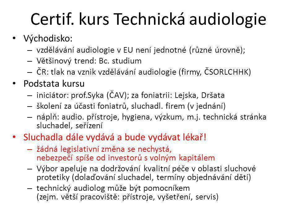 Certif. kurs Technická audiologie Východisko: – vzdělávání audiologie v EU není jednotné (různé úrovně); – Většinový trend: Bc. studium – ČR: tlak na