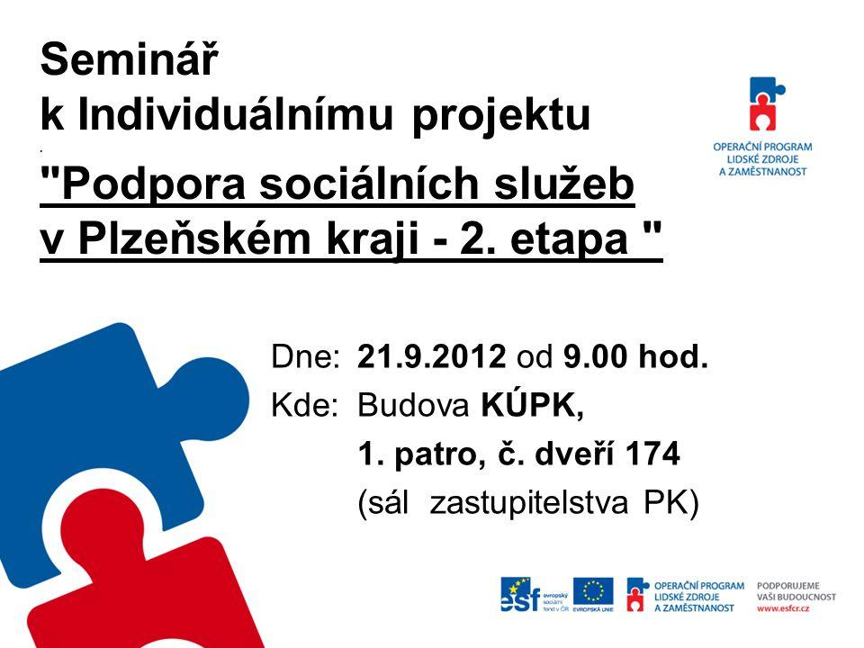 """INDIVIDUÁLNÍ PROJEKT """"Podpora sociálních služeb v PK – 2."""