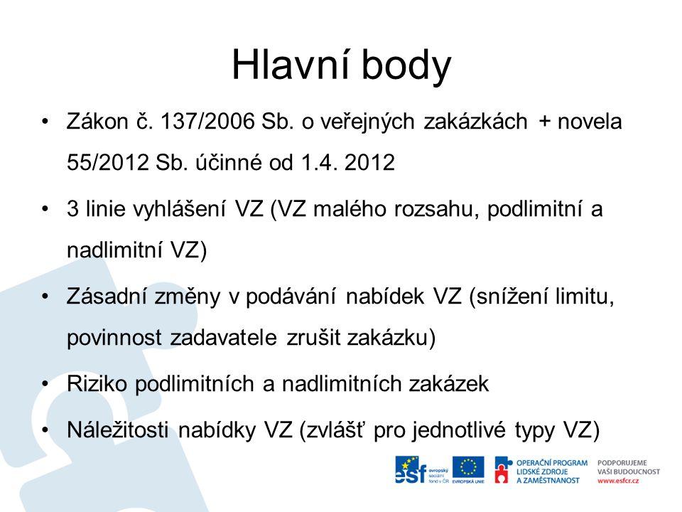 Hlavní body Zákon č. 137/2006 Sb. o veřejných zakázkách + novela 55/2012 Sb.