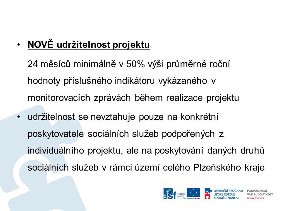 NOVĚ udržitelnost projektu 24 měsíců minimálně v 50% výši průměrné roční hodnoty příslušného indikátoru vykázaného v monitorovacích zprávách během realizace projektu udržitelnost se nevztahuje pouze na konkrétní poskytovatele sociálních služeb podpořených z individuálního projektu, ale na poskytování daných druhů sociálních služeb v rámci území celého Plzeňského kraje