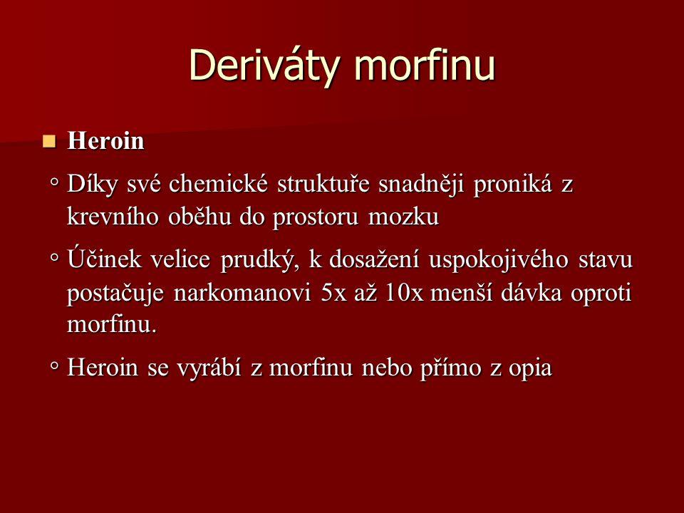 Deriváty morfinu Heroin Heroin ◦ Díky své chemické struktuře snadněji proniká z krevního oběhu do prostoru mozku ◦ Díky své chemické struktuře snadněj