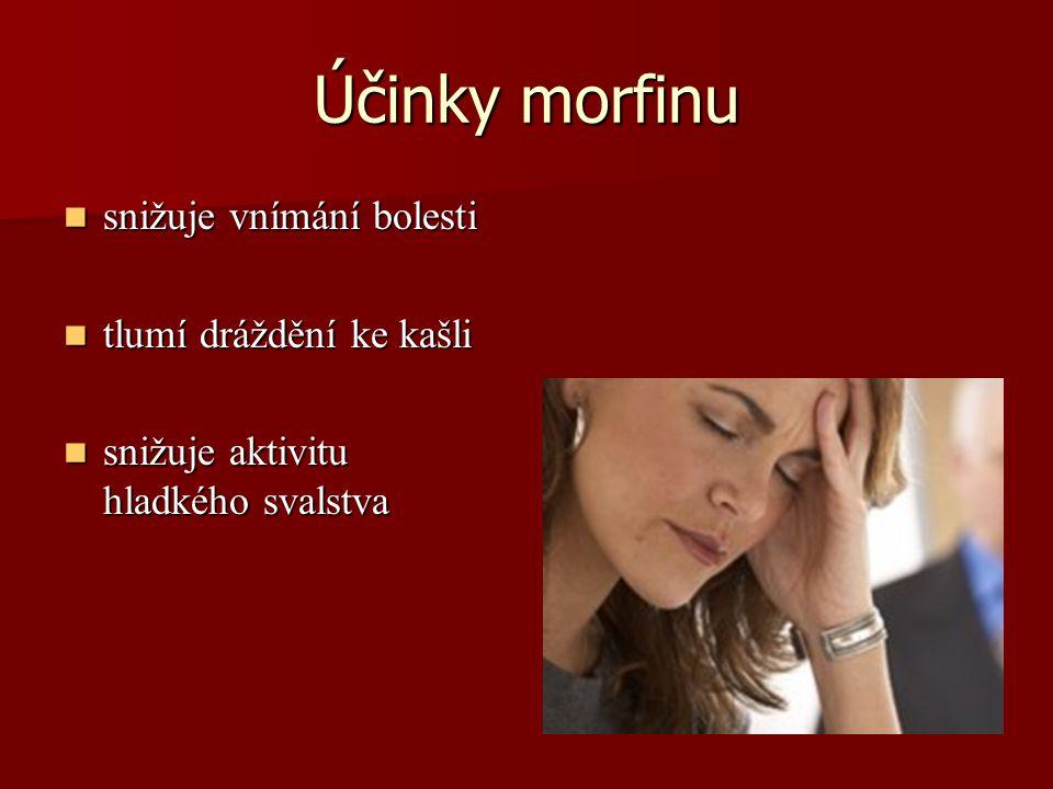 Účinky morfinu snižuje vnímání bolesti snižuje vnímání bolesti tlumí dráždění ke kašli tlumí dráždění ke kašli snižuje aktivitu hladkého svalstva sniž