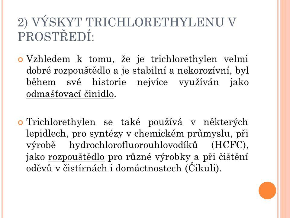 2) VÝSKYT TRICHLORETHYLENU V PROSTŘEDÍ: Vzhledem k tomu, že je trichlorethylen velmi dobré rozpouštědlo a je stabilní a nekorozívní, byl během své his