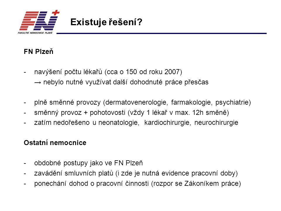 FN Plzeň -navýšení počtu lékařů (cca o 150 od roku 2007) → nebylo nutné využívat další dohodnuté práce přesčas -plně směnné provozy (dermatovenerologie, farmakologie, psychiatrie) -směnný provoz + pohotovosti (vždy 1 lékař v max.