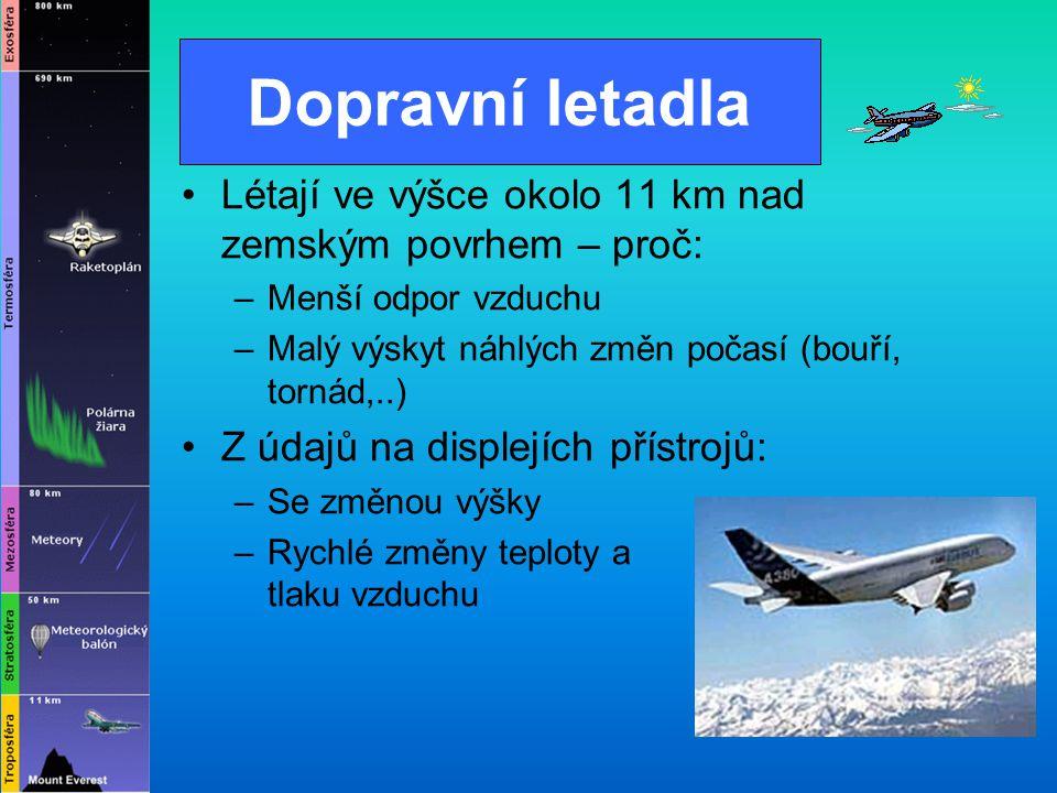 Dopravní letadla Létají ve výšce okolo 11 km nad zemským povrhem – proč: –M–Menší odpor vzduchu –M–Malý výskyt náhlých změn počasí (bouří, tornád,..)