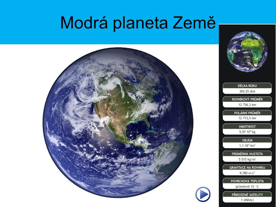 Základní údaje o Zemi Tvar: koule, geoid Doba vzniku: 4,6 miliard let Povrch: 510 000 000 km 2 Obvod Země na rovníku: 40 000 km Poloměr Země: 6 371 km Doba oběhu kolem Slunce: 365,25 dne (1rok) (oběžná rychlost 29,5 km/s) Doba rotace kolem osy: 23 hod., 56 min.