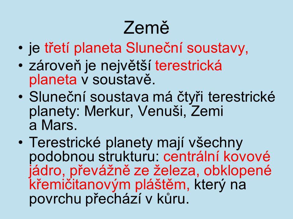 Země je třetí planeta Sluneční soustavy, zároveň je největší terestrická planeta v soustavě. Sluneční soustava má čtyři terestrické planety: Merkur, V