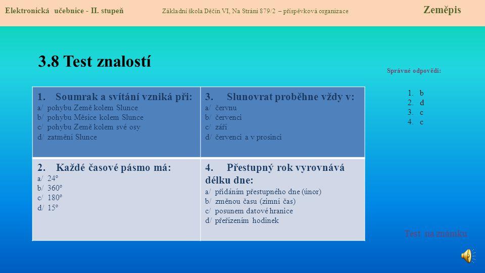 3.9 Použité zdroje, citace 1.http://cs.wikipedia.org/wiki/Soumrak slide 1http://cs.wikipedia.org/wiki/Soumrak 2.http://malpetr.rajce.idnes.cz/Soumrak_a_svitani_na_Lyse/ slide 3http://malpetr.rajce.idnes.cz/Soumrak_a_svitani_na_Lyse/ 3.http://upload.wikimedia.org/wikipedia/commons/e/ef/Earth-lighting-winter-solstice_CS.png slide 4http://upload.wikimedia.org/wikipedia/commons/e/ef/Earth-lighting-winter-solstice_CS.png 4.http://rysava.websnadno.cz/prirodoveda_4.roc/pr4_slunce_a_zeme.htm slide 4http://rysava.websnadno.cz/prirodoveda_4.roc/pr4_slunce_a_zeme.htm 5.//upload.wikimedia.org/wikipedia/commons/6/61/AxialTiltObliquity.png slide 5//upload.wikimedia.org/wikipedia/commons/6/61/AxialTiltObliquity.png 6.http://cs.wikipedia.org/wiki/Nebesk%C3%A1_sf%C3%A9ra slide 6http://cs.wikipedia.org/wiki/Nebesk%C3%A1_sf%C3%A9ra 7.http://cs.wikipedia.org/wiki/Precese_zemsk%C3%A9_osy slide 6http://cs.wikipedia.org/wiki/Precese_zemsk%C3%A9_osy 8.http://cs.wikipedia.org/wiki/Soubor:Precesi%C3%B3n.gif slide 6http://cs.wikipedia.org/wiki/Soubor:Precesi%C3%B3n.gif 9.//upload.wikimedia.org/wikipedia/commons/b/ba/Relief_Bruno_Campo_dei_Fiori_n1.jpg slide 7//upload.wikimedia.org/wikipedia/commons/b/ba/Relief_Bruno_Campo_dei_Fiori_n1.jpg 10.http://cs.wikipedia.org/wiki/Soubor:Giordano_Bruno.jpg slide 7http://cs.wikipedia.org/wiki/Soubor:Giordano_Bruno.jpg 1.http://cs.wikipedia.org/wiki/Soumrak slide 1http://cs.wikipedia.org/wiki/Soumrak 2.http://malpetr.rajce.idnes.cz/Soumrak_a_svitani_na_Lyse/ slide 3http://malpetr.rajce.idnes.cz/Soumrak_a_svitani_na_Lyse/ 3.http://upload.wikimedia.org/wikipedia/commons/e/ef/Earth-lighting-winter-solstice_CS.png slide 4http://upload.wikimedia.org/wikipedia/commons/e/ef/Earth-lighting-winter-solstice_CS.png 4.http://rysava.websnadno.cz/prirodoveda_4.roc/pr4_slunce_a_zeme.htm slide 4http://rysava.websnadno.cz/prirodoveda_4.roc/pr4_slunce_a_zeme.htm 5.//upload.wikimedia.org/wikipedia/commons/6/61/AxialTiltObliquity.png slide 5//upload.wikimedia.org/wikipedia/c