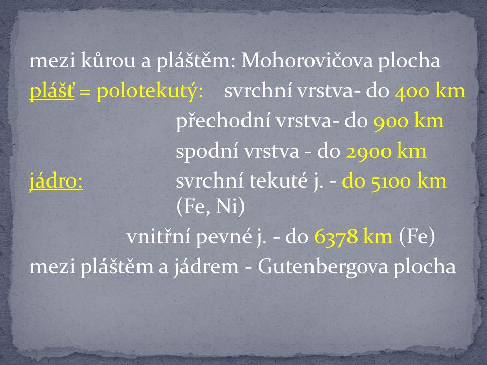 mezi kůrou a pláštěm: Mohorovičova plocha plášť = polotekutý:svrchní vrstva- do 400 km přechodní vrstva- do 900 km spodní vrstva - do 2900 km jádro:svrchní tekuté j.