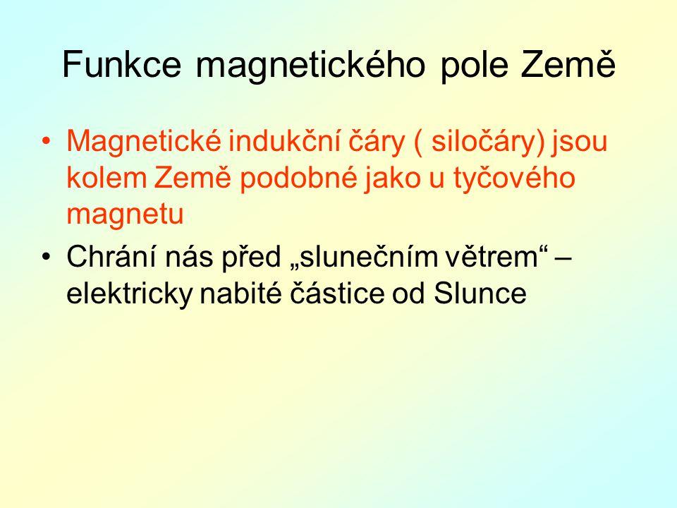 """Funkce magnetického pole Země Magnetické indukční čáry ( siločáry) jsou kolem Země podobné jako u tyčového magnetu Chrání nás před """"slunečním větrem – elektricky nabité částice od Slunce"""