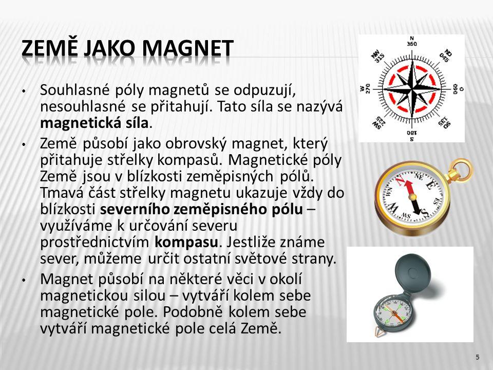 Souhlasné póly magnetů se odpuzují, nesouhlasné se přitahují.