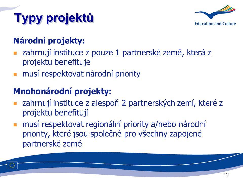 12 Typy projektů Národní projekty: zahrnují instituce z pouze 1 partnerské země, která z projektu benefituje musí respektovat národní priority Mnohonárodní projekty: zahrnují instituce z alespoň 2 partnerských zemí, které z projektu benefitují musí respektovat regionální priority a/nebo národní priority, které jsou společné pro všechny zapojené partnerské země