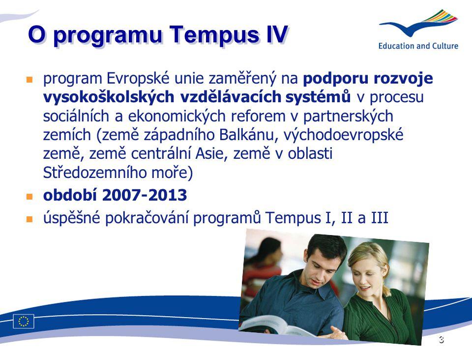 Historie The trans-European mobility scheme for university studies od roku 1990 nejdéle trvající program EU v této oblasti první fáze schválena s cílem reagovat na potřeby modernizace vysokoškolského vzdělávání v zemích Střední a Východní Evropy (Polsko, Maďarsko a Československo; později Litva, Lotyšsko, Estonsko, Slovinsko, Albánie …) 2004: vstup ČR do EU, změna pozice v rámci programu 4