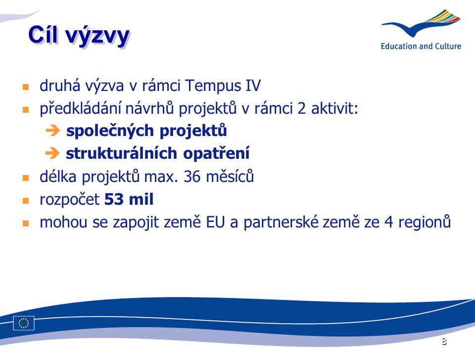8 Cíl výzvy druhá výzva v rámci Tempus IV předkládání návrhů projektů v rámci 2 aktivit:  společných projektů  strukturálních opatření délka projektů max.