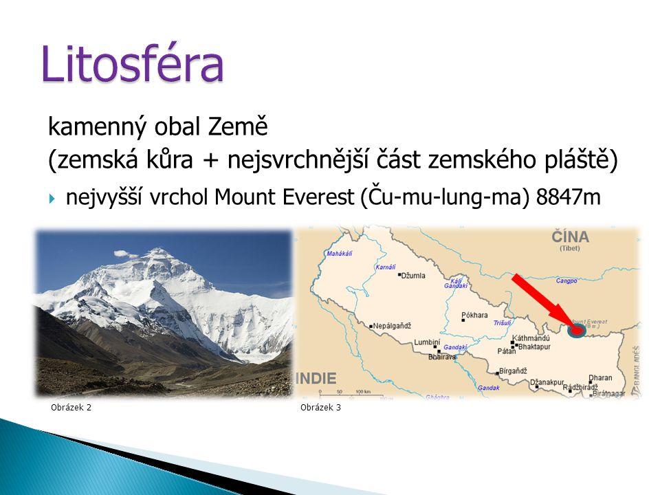 kamenný obal Země (zemská kůra + nejsvrchnější část zemského pláště)  nejvyšší vrchol Mount Everest (Ču-mu-lung-ma) 8847m Obrázek 2Obrázek 3