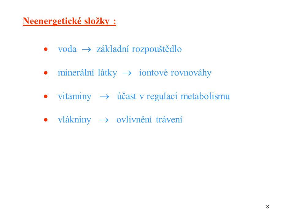 8 Neenergetické složky :  voda  základní rozpouštědlo  minerální látky  iontové rovnováhy  vitaminy  účast v regulaci metabolismu  vlákniny  ovlivnění trávení