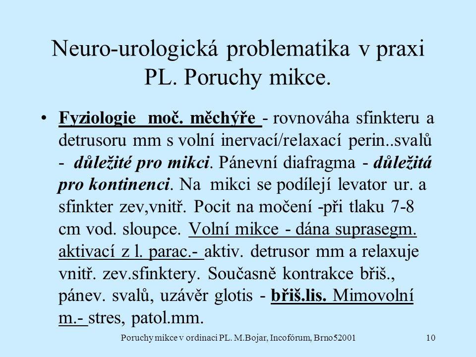 Poruchy mikce v ordinaci PL. M.Bojar, Incofórum, Brno5200110 Neuro-urologická problematika v praxi PL. Poruchy mikce. Fyziologie moč. měchýře - rovnov