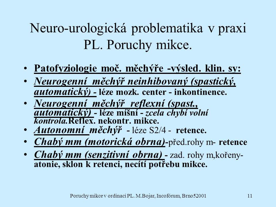 Poruchy mikce v ordinaci PL. M.Bojar, Incofórum, Brno5200111 Neuro-urologická problematika v praxi PL. Poruchy mikce. Patofyziologie moč. měchýře -výs