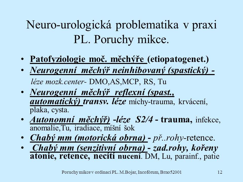 Poruchy mikce v ordinaci PL. M.Bojar, Incofórum, Brno5200112 Neuro-urologická problematika v praxi PL. Poruchy mikce. Patofyziologie moč. měchýře (eti