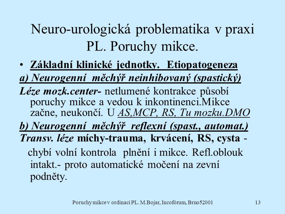 Poruchy mikce v ordinaci PL. M.Bojar, Incofórum, Brno5200113 Neuro-urologická problematika v praxi PL. Poruchy mikce. Základní klinické jednotky. Etio
