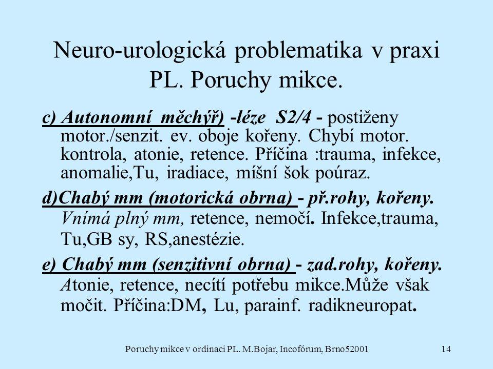 Poruchy mikce v ordinaci PL. M.Bojar, Incofórum, Brno5200114 Neuro-urologická problematika v praxi PL. Poruchy mikce. c) Autonomní měchýř) -léze S2/4