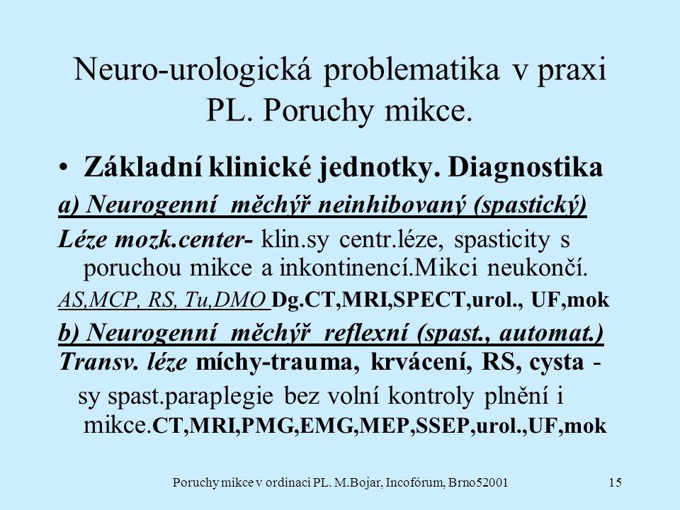 Poruchy mikce v ordinaci PL. M.Bojar, Incofórum, Brno5200115 Neuro-urologická problematika v praxi PL. Poruchy mikce. Základní klinické jednotky. Diag