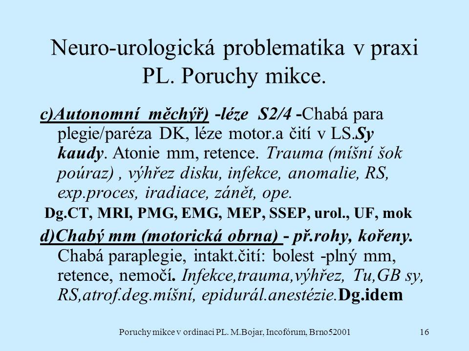 Poruchy mikce v ordinaci PL. M.Bojar, Incofórum, Brno5200116 Neuro-urologická problematika v praxi PL. Poruchy mikce. c)Autonomní měchýř) -léze S2/4 -